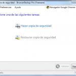 Browser Backup, primer pantalla