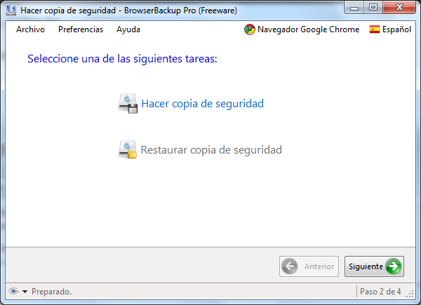 Browser Backup, primer pantalla