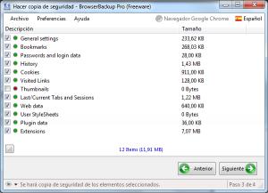 Browser Backup - Seleccion de elementos