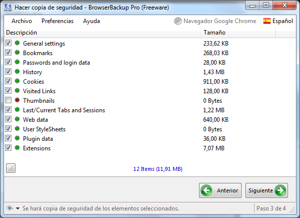 Browser Backup - Seleccion de elementos