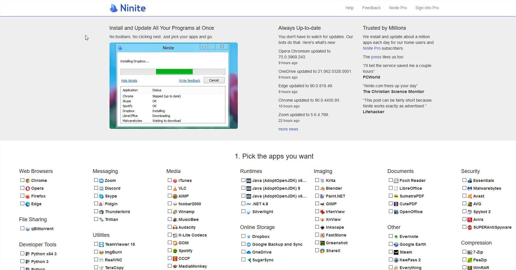 Seleccion de aplicaciones en Ninite
